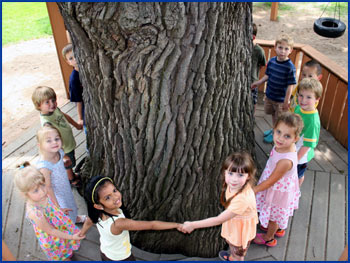 Children Surrounding Large Tree